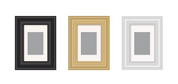 Realistischer bilderrahmen isoliert vektorvorlage für bild leeres weißes bilderrahmenmodell