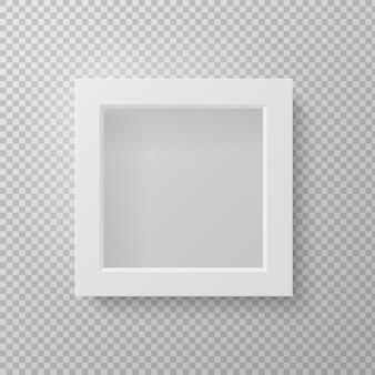 Realistischer bilderrahmen. quadratische leere 3d lokalisierte graue modellvoransicht an der wand