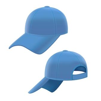 Realistischer blauer baseball-kappen-satz auf weißem hintergrund. illustration
