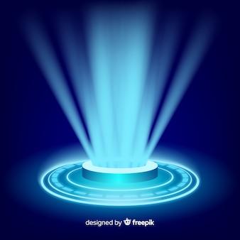 Realistischer blauer hologrammportalhintergrund