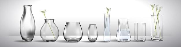 Realistischer blumenstrauß in einem glas wasser leere glasvase realistisches modell