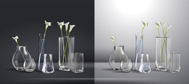 Realistischer blumenstrauß in einem glas wasser