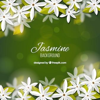 Realistischer bokeh-hintergrund von jasmin