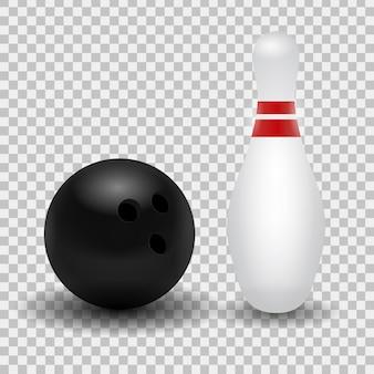 Realistischer bowlingkegel und ball auf dem transparenten hintergrund.