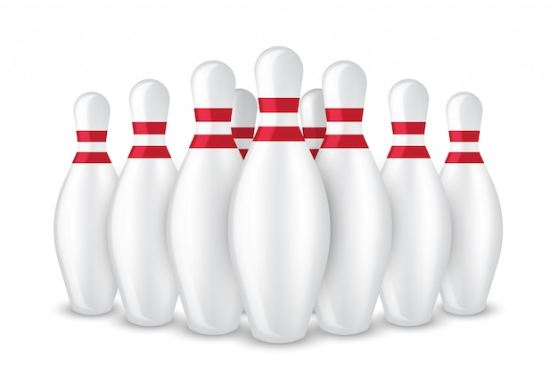 Realistischer bowlingspielpin 3d lokalisiert