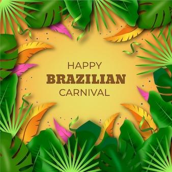 Realistischer brasilianischer karneval mit tropischen blättern