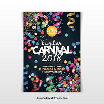 Realistischer brasilianischer karnevalspartyflieger / -plakat