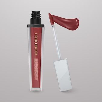 Realistischer, brauner flüssiger lippenstift mit lippenstift. 3d-illustration, trendiges kosmetisches design