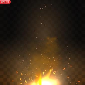 Realistischer brennender feuerflammeneffekt mit transparenz