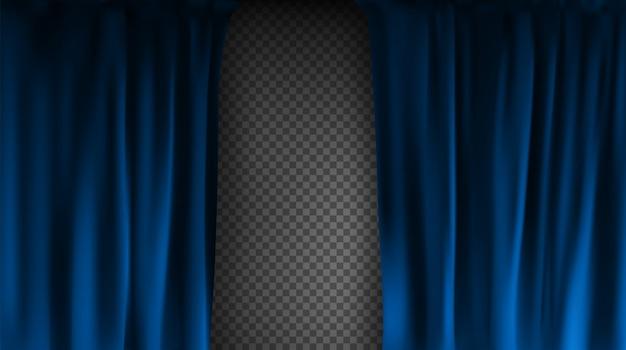 Realistischer bunter blauer samtvorhang gefaltet auf einem transparenten hintergrund. optionsvorhang zu hause im kino. illustration