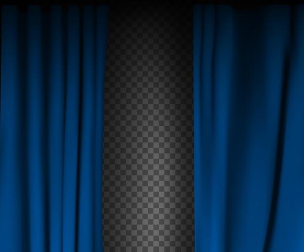 Realistischer bunter blauer samtvorhang gefaltet auf einem transparenten hintergrund. optionsvorhang zu hause im kino. .