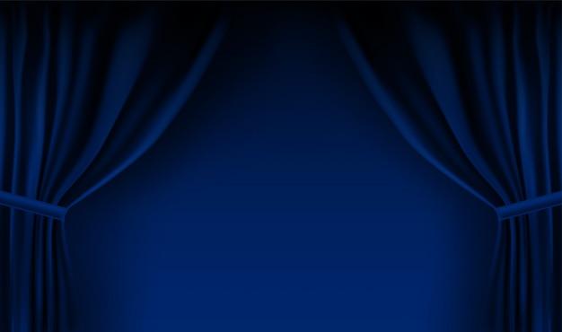 Realistischer bunter blauer samtvorhang gefaltet. optionsvorhang zu hause im kino.