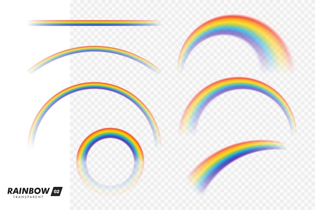 Realistischer bunter regenbogen. transparente regenbogen eingestellt. lebhafter regenbogen mit transparentem effekt - vektorgrafik