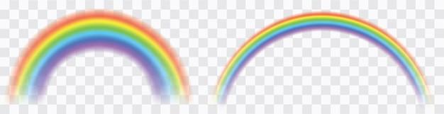Realistischer bunter regenbogen. transparente regenbogen gesetzt. lebendiger regenbogen mit transparentem effekt
