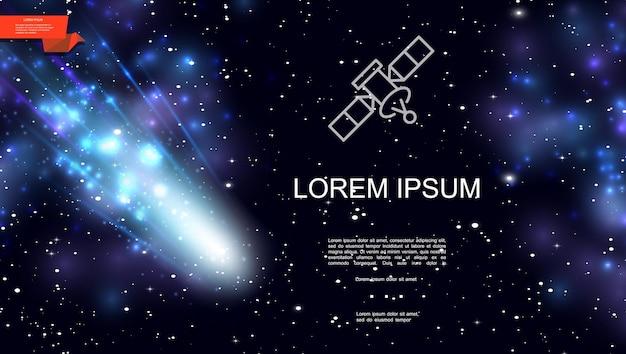 Realistischer bunter weltraumhintergrund mit fallenden kometensternen und blauem nebel