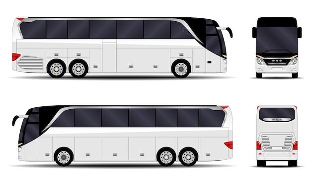 Realistischer bus. seitenansicht; vorderansicht; rückansicht