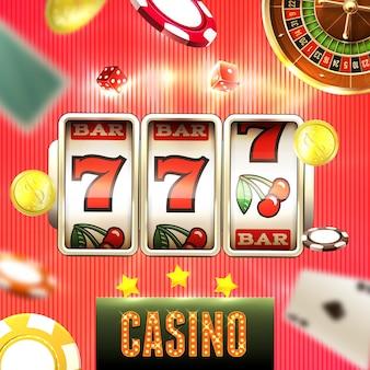 Realistischer casino jackpot mit spielautomat, der 777 illustration macht