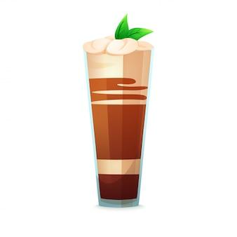 Realistischer cocktail auf weißem hintergrund. cocktail in einem glas mit verschiedenen elementen.