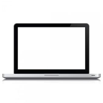 Realistischer computer des laptops in der modellart. laptop getrennt auf einem weißen hintergrund.