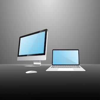 Realistischer computer und laptop