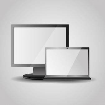 Realistischer computerbildschirm und laptopgerät mit weißem bildschirm