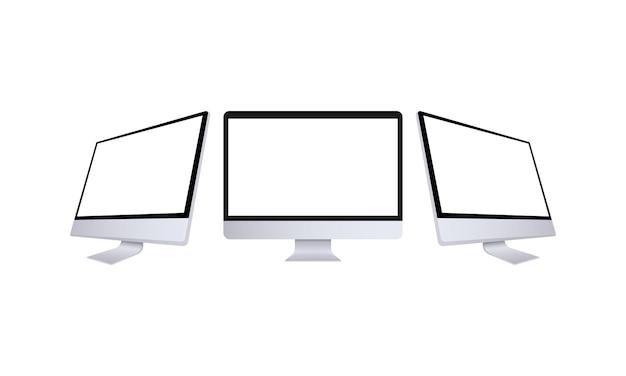 Realistischer computermonitor in vorder- und seitenansicht. metalldesktopmodell mit weißem bildschirm. vorlage des computers in silberner farbe. andere ansicht des desktop-pcs. vektor-eps 10.