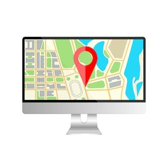 Realistischer computermonitor mit kartennavigation auf einem bildschirm. gps-navigator mit rotem punkt. computerbildschirmanzeige lokalisiert auf weißem hintergrund. modell der büroausstattung. illustration.