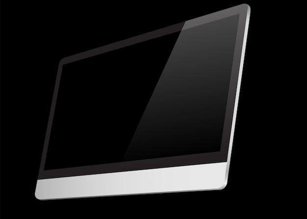 Realistischer computerschwarzbildschirm lokalisiert auf schwarzem hintergrund