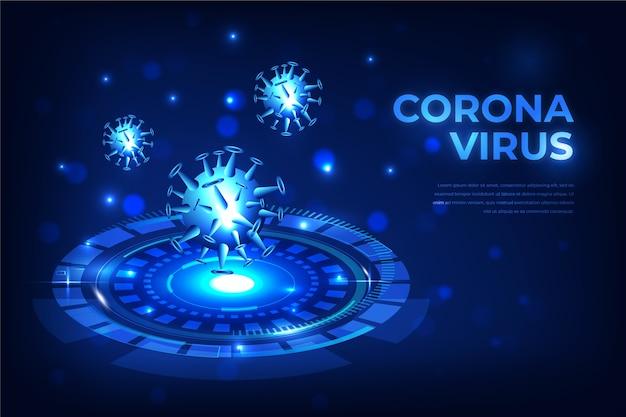 Realistischer coronavirus-hologrammhintergrund