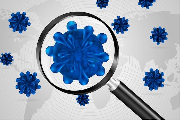 Realistischer coronavirus-zellblick durch einen lupenhintergrund