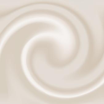 Realistischer cremeeffekt. cremiger strudel des milchtexturhintergrunds.