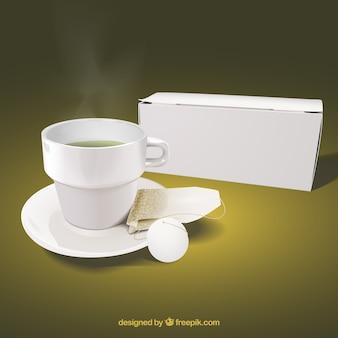 Realistischer cup hintergrund mit infusion