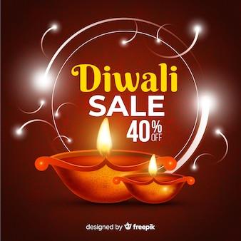 Realistischer diwali-verkauf mit 40% rabatt