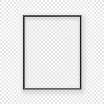 Realistischer dünner schwarzer bilderrahmen an einer wand. vektorabbildung getrennt auf transparentem hintergrund