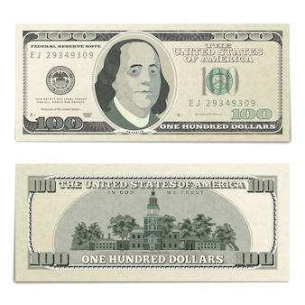 Realistischer dummy 100 us-dollar banknote, vorder- und rückseite detailliertes coupure auf weiß