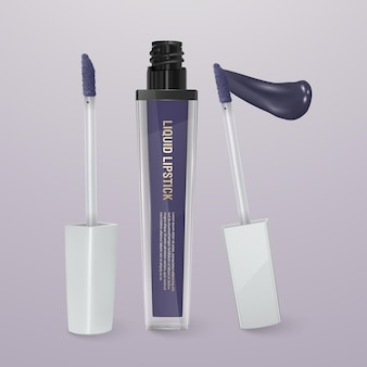Realistischer, dunkelblauer flüssiger lippenstift mit lippenstift. 3d-illustration, trendiges kosmetisches design