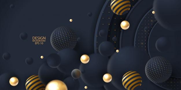 Realistischer dunkler abstrakter deckungshintergrund mit kugel 3d