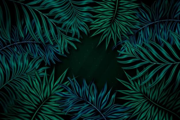 Realistischer dunkler tropischer blätterhintergrund