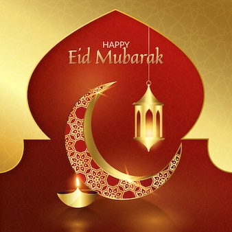 Realistischer eid mubarak des roten und goldenen mondes