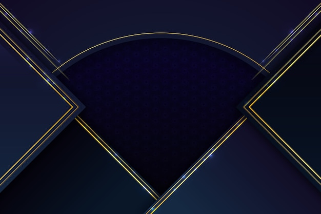 Realistischer eleganter geometrischer formenhintergrund mit goldenen linien
