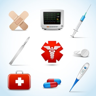 Realistischer elementsatz der medizinischen bereitschaftsdienste mit der kapsel, die gips-skalpell haftet, lokalisierte vektorillustration.
