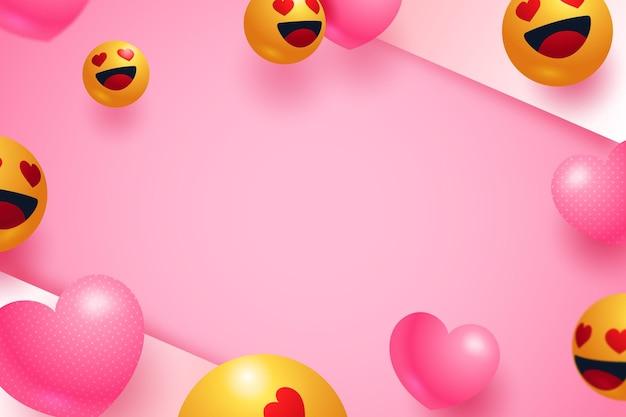 Realistischer emoji-liebeshintergrund