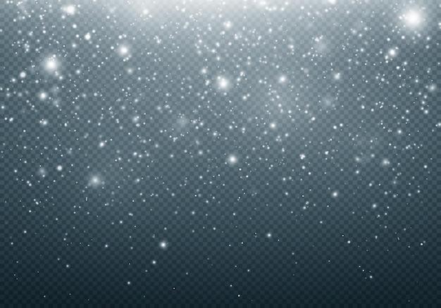 Realistischer fallender schnee auf transparentem hintergrund schneeflocken realistisch