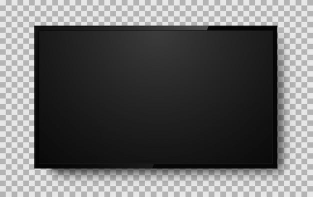 Realistischer fernsehbildschirm auf hintergrund. fernseher, moderner lcd-bildschirm, led