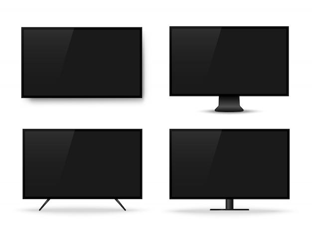 Realistischer fernsehbildschirm. fernsehapparat, moderner unbelegter bildschirm lcd, geführt
