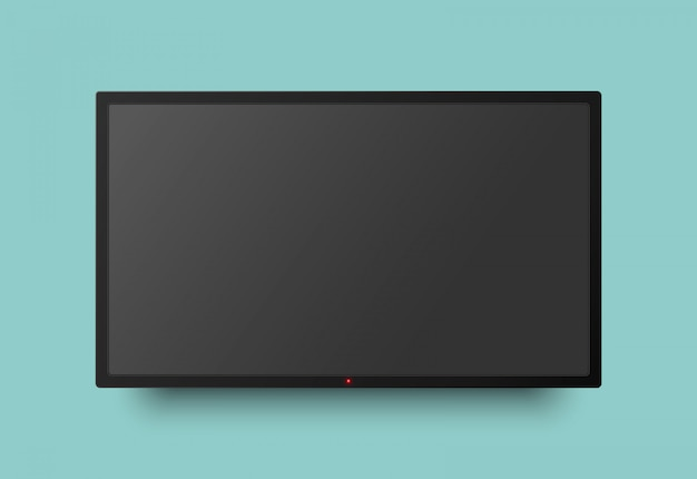 Realistischer fernsehbildschirm mit lichtknopf und schatten. fernseh-led-anzeige an der wand hängen.
