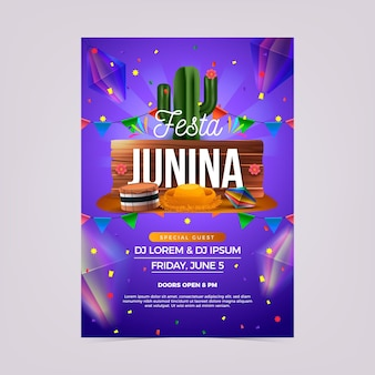 Realistischer festa junina flyer
