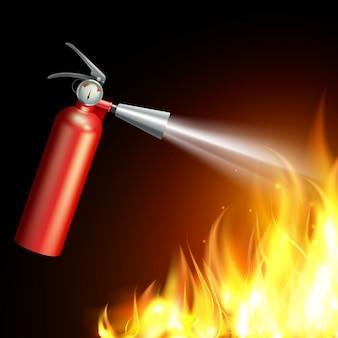 Realistischer feuerlöscher mit flamme auf dunklem hintergrund