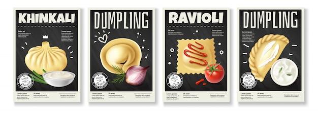 Realistischer fleisch-gourmet-nahrungsmittelsatz von vier vertikalen knödelbildern