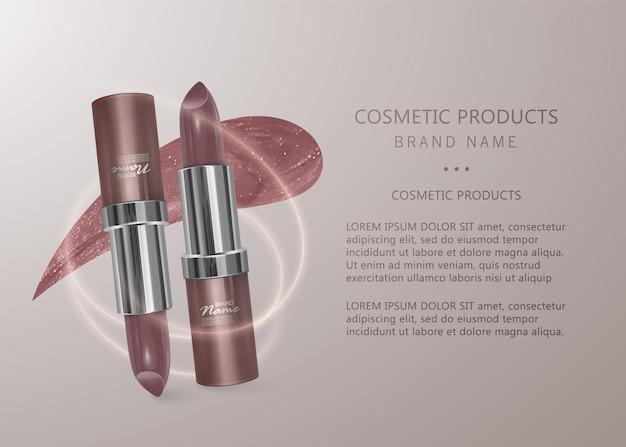 Realistischer fleischfarbener lippenstift. 3d-illustration, trendiges kosmetisches design